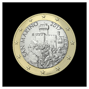 1 € - The second tower of San Marino