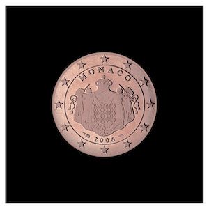 1 ¢ - The coat of arms of the Sovereign Princes of Monaco