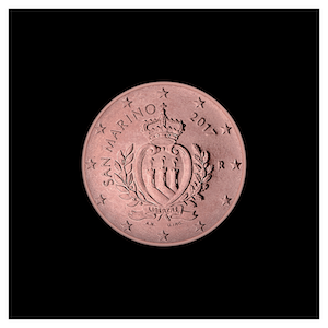 1 ¢ - The official coat of arms of San Marino