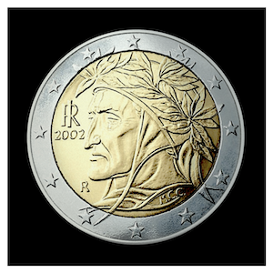 2 € - Portrait of the poet Dante Alighieri