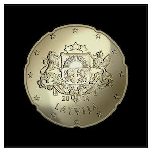 20 ¢ - Grandes armoiries de la Lettonie