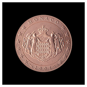 5 ¢ - The coat of arms of the Sovereign Princes of Monaco